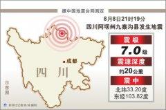 四川九寨沟7.0级地震造成164人受伤9人死亡