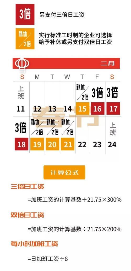 今年除夕没有3倍工资,春节期间加班工资这样算