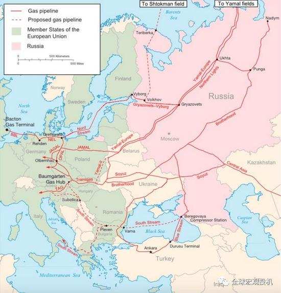 俄国的天然气管道分布图,数据来源:Gazprom