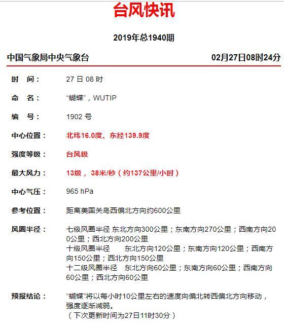 """台风实时路径发布系统2019:台风""""蝴蝶""""减弱为台"""